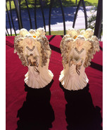 VINTAGE TRIPLE ANGELS SET OF 2/HOLIDAY COLLECTIBLE ANGEL FIGURINE/CANDLE... - $9.89