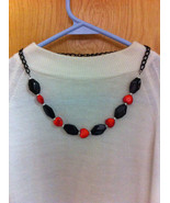 OOAK BLACK and ORANGE GLASS NECKLACE /GLASS BEADS AND BLACK CHAIN/JEWELR... - $23.76