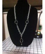 SILVER CHAIN NECKLACE & BLACK WIRED BEADS/JEWELRY FASHION/MOTHERS DAY GIFT/ - $34.65