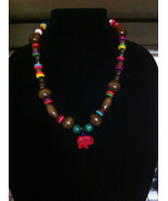 DARK WOOD NECKLACE WITH RED ELEPHANT PENDANT/COLORFUL RAINBOW NECKLACE - $14.84