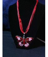 Butterfly Pendant w/Red & Pink inlay and rhinestones/Red organza Ribbon ... - $9.89