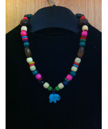 MULTICOLOR WOOD NECKLACE WITH BLUE ELEPHANT PENDANT/COLORFUL RAINBOW NEC... - $14.84