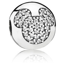 925 Sterling Silver Mickey Pave Clip Charm Bead For European Bracelet QJ... - €18,50 EUR