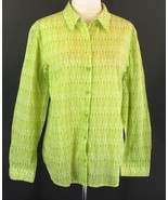 CHICO'S Size 3 (XL, 16, 18) Diamond Patterned Airy Cotton Voile Shirt - $11.99