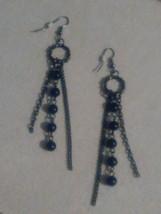 Classy design black earrings on Shepherd hook - $7.50