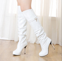 pb077 Under knee stiletto boots,patent leather, size 34-40, white - $58.80