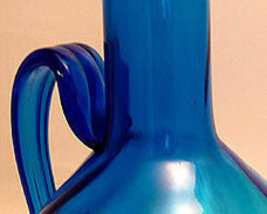Mid 20thCentury LARGE Deep Blue Grecian Glass Urn Vase  image 5