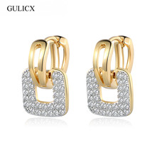 Brand Unique Square Shaped Piercing Small Huggie Hoop Earring Women Gold... - $16.16