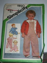 Vintage 9820 Simplicity Overall & Lined Jacket Pattern Sz. 1/2 -1 Year - $3.95