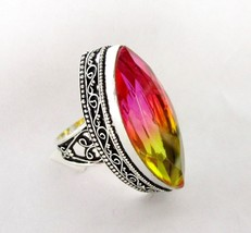 BiColor Tourmaline Ring Sz 9 Simulated Pink Yellow Faceted 925 - $89.09