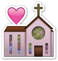 Emoji Church shaped vinyl sticker 100mm or 150mm celebration wedding rel... - $3.00+