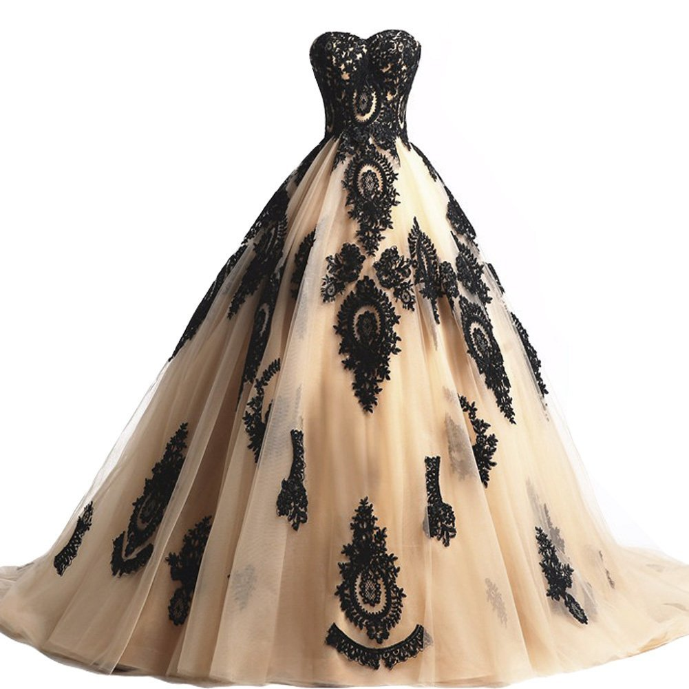 Black Lace Wedding Gowns: Long Champagne And Black Lace Gothic Wedding Dresses
