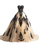 Long Champagne and Black Lace Gothic Wedding Dresses Corset Prom Evening... - $159.99+