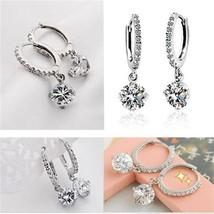 Pair of Women's Daily Wear Single Stone Drop Down Zircon Crystal Earrings - $14.25