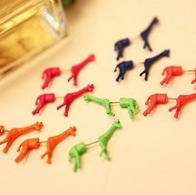 Unique Style Fluorescent Giraffe Single Stud Earring(Rose Red) - $7.29