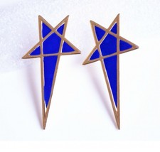 Unique Lacquered Star Trendy Rock Earrings(Blue) - $6.99