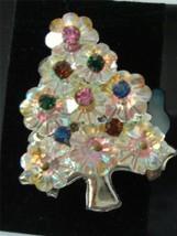 Vintage Xmas Tree Brooch Pin Aurora Borealis marguerite flower Rhinestones Gold - $23.76