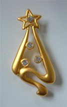 Vintage 80's Art Deco Modernist Xmas Tree Brooch Pin Matte Gold Rhinestones - $18.76