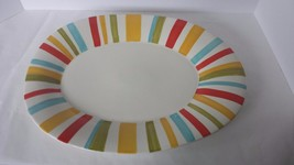 """19"""" Oval Multi Color Striped Platter Serving Tray 2006 Heritage Mint - £11.73 GBP"""
