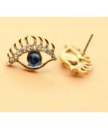 Rhinestone Blue Eye Stud Earrings - $6.99