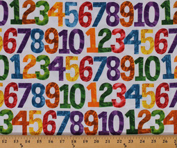 123 to the Zoo Counting Numbers Kids White Cotton Fabric Print by Yard D... - $12.49