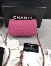 AUTHENTIC CHANEL PINK CHEVRON LAMBSKIN MINI RECTANGULAR FLAP BAG GHW image 5