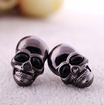 Metal Black Unisex Skull Punk Rock Stud Earrings - $6.99