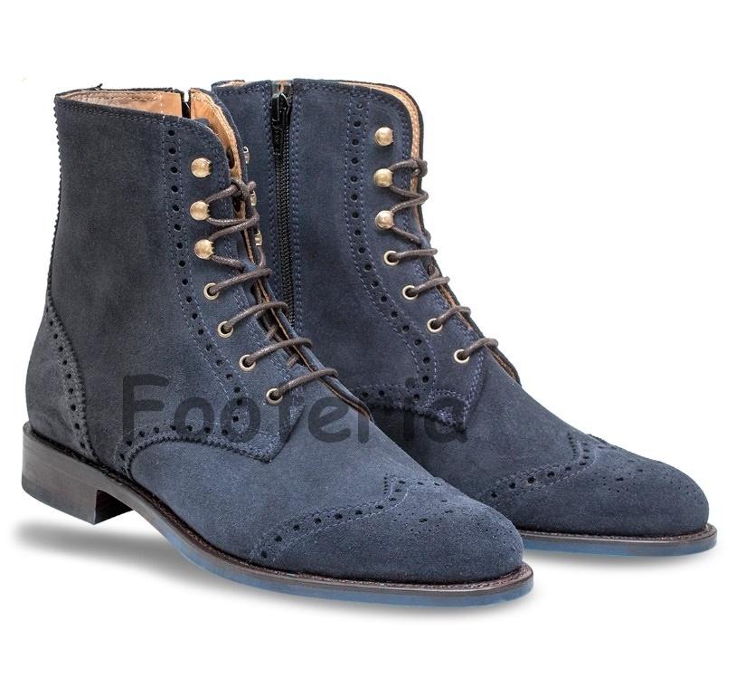Handmade navy blue boots, wingtip brogue boot, suede ...