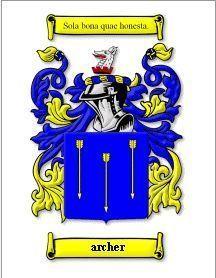 Archer Coat of Arms Archer Family Crest History Print  Bonanza