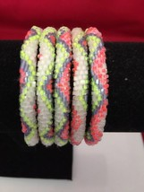 Roll On Glass Seed Beaded Bracelet Pink Brown Green Glass Beaded Bangles... - $3.95