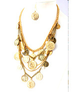 GENUINE FRESHWATER PEARLS Gold Triple Strand Coin Necklace crew.net/j/ - $79.00