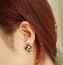 Vintage Colored Diamond Cross Stud Earrings - $6.99