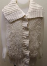 Gap Kids Girl White Fur Vest Cable Knitted XL 12 Cotton Blend Winter - $15.51