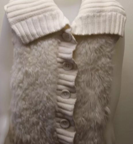 Gap Kids Girl White Fur Vest Cable Knitted XL 12 Cotton Blend Winter