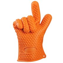 BBQ Silicone Grill Gloves Up To 300% Thicker Than Others (Orange) - £9.66 GBP