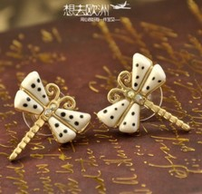 Delicate Spotted Glazed Dragonfly Stud Earrings - $6.79