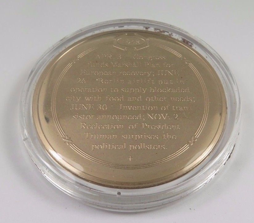 1948  U.S. Uses Airlift To Supply Berlin Franklin Mint Solid Bronze Coin Medal