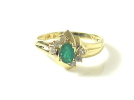 10k Yellow Gold Green Amerald With cz Color Birthstone Women's Ring - $149.60