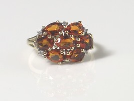 10k Yellow Gold With Diamond And Citrine Women's Color Stone Ring - $176.72