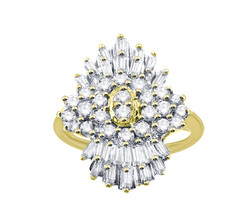 10k Yellow Gold Women's Cocktail Ring With Round & Baguette Diamonds 1.00ct - $513.25