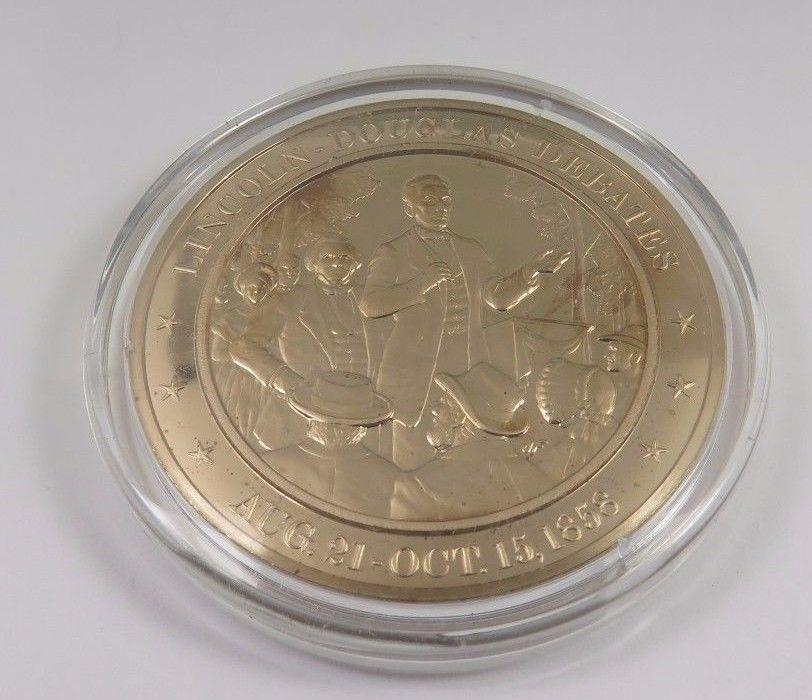 Primary image for Aug. 21-Oct. 15, 1858 Lincoln- Douglas Debates Franklin Mint Solid  Bronze Coin