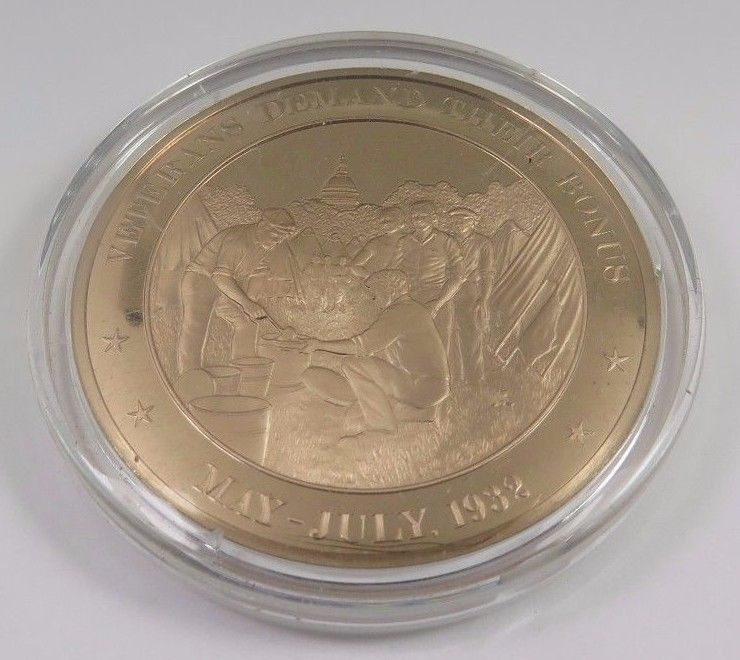 Primary image for May-July, 1932 Veterans Demand Their Bonus Franklin Mint Solid Bronze Coin