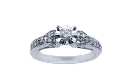 10k White Gold Diamond Ring With A Round Cut Diamond In The Center - $257.13