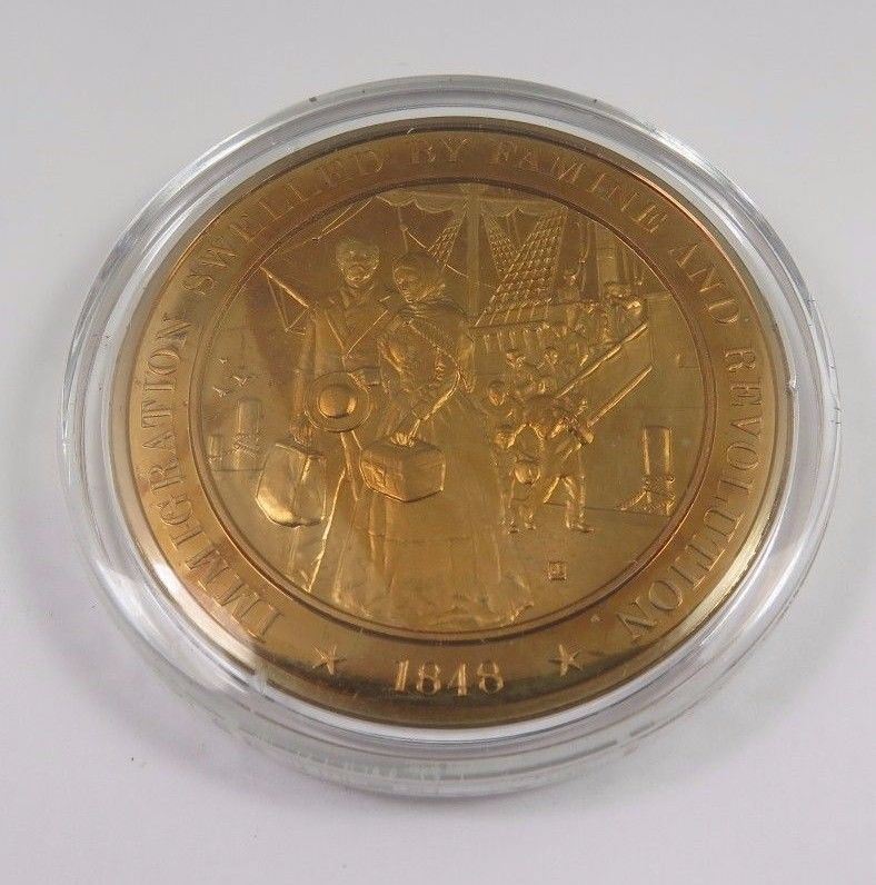 Primary image for 1848 Immigration Swelled By Famine And Revolution Franklin Mint Bronze Coin