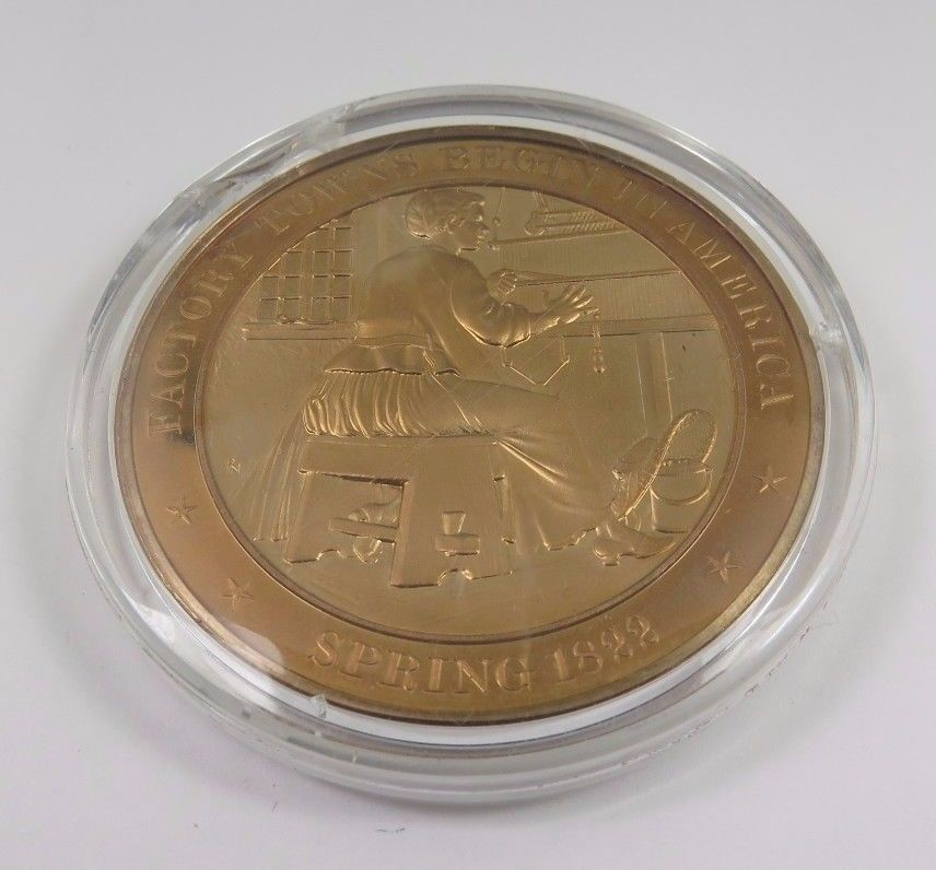 Primary image for Spring 1822 Factory Towns Begin In America Franklin Mint Solid Bronze Coin