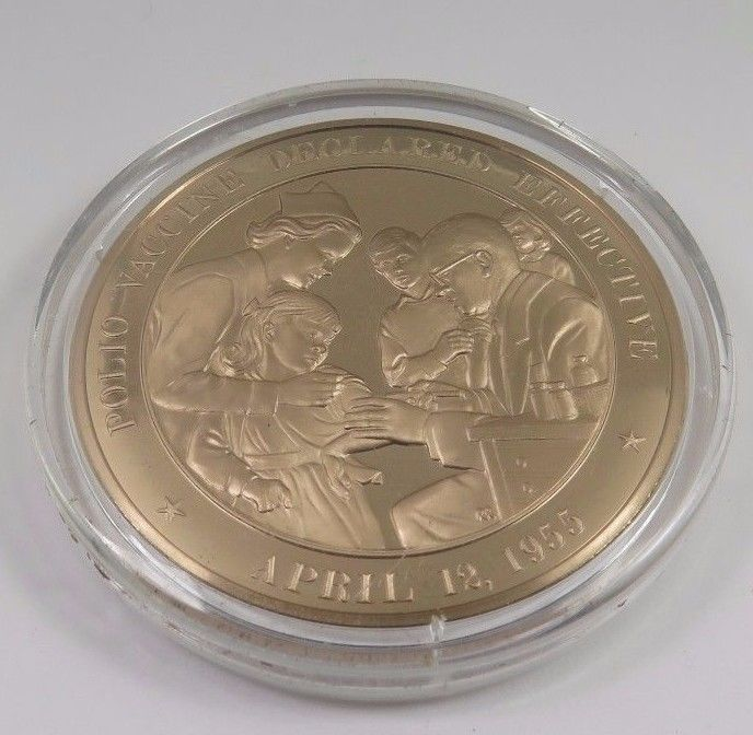 Primary image for April 12, 1955 Polio Vaccine Declared Effective Franklin Mint Solid Bronze Coin