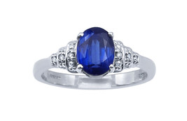 10k White Gold  And Diamond Women's Ring With An Oval Shape Sapphire  Stone - $233.75