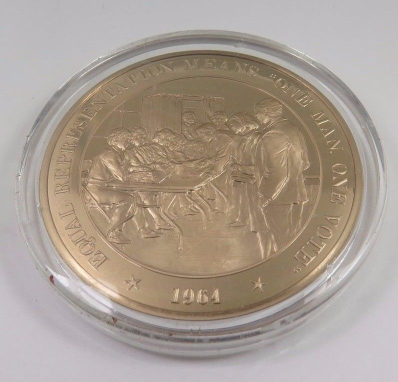 "1964 Equal Representation Means ""One Man, One Vote"" Franklin Mint Bronze Coin - $12.16"