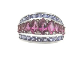 14k White Gold Diamond Tanzanite And Tourmaline Women's Color Stone Ring - $261.80