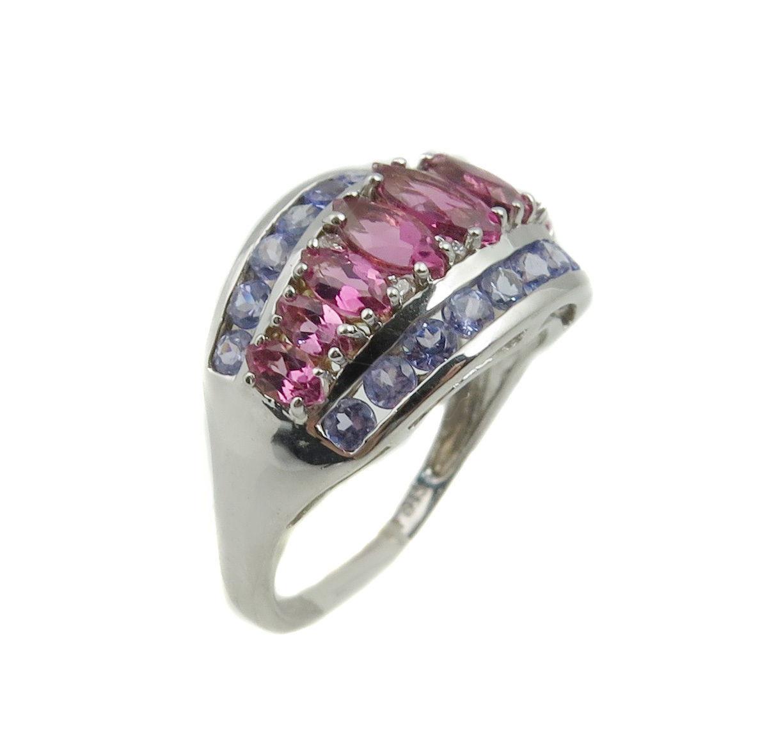 14k White Gold Diamond Tanzanite And Tourmaline Women's Color Stone Ring